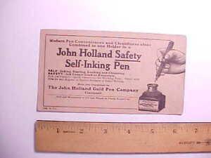 1914 JOHN HOLLAND FOUNTAIN PENS ADVERTISING INK BLOTTER PIC OF INK BOTTLE VG+