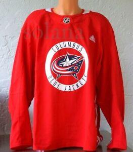 adidas COLUMBUS BLUE JACKETS Authentic Home Practice Hockey Jersey Sweater sz 58