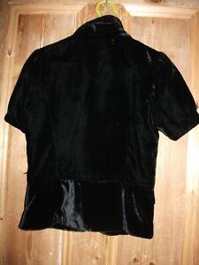 Old Navy Black Velvet Short Sleeved Jacket Size XS Goth Steampunk