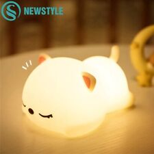 Rechargeable USB Night Light Cat Silicone Touch Sensor Bedroom Bedside Lamp