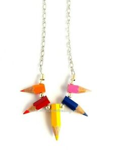 Handmade Pencil Crayon Tips Necklace, Fair Trade, Recycled, Made in India