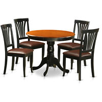 5PC DINETTE KITCHEN DINING SET TABLE WITH 4 PADDED SEAT CHAIRS IN BLACK & CHERRY