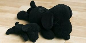 Rare KAWS X PEANUTS ALL BLACK SNOOPY SET OF 2 Lot LARGE & SMALL NEW IN HAND