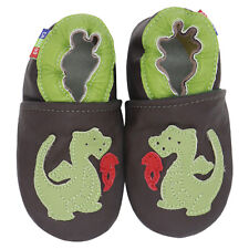 carozoo fire dragon brown 2-3y soft sole leather toddler boy shoes