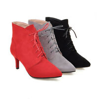 Elissara Womens Mid Heel Lace Up Pointed Toe Ankle Boots Party Shoes AU Size 2-9