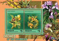 BEQUIA 2014 - ORCHIDS OF THE CARIBBEAN SOUVENIR SHEET OF 2 STAMPS (#2) MNH