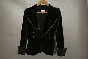 Ladies Armani Collezioni Green Velours Viscose Silk Peak Lapels Blazer Size 42