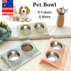 Double Bowls Raised Stand For Cat Pet Dog Puppy Non-Slip Splash Feeder Food