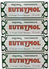 4x Euthymol Original Toothpaste 75ml Anti plaque healthy gums