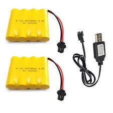 2Pcs 4.8V 700mAh Ni-Cd AA Battery Pack SM 2P Plug & USB Charging Cable for Toys
