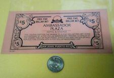 New listing $5 Dollar Bet Coupon Ambassador Plaza Casino poker Condado San Juan Puerto Rico