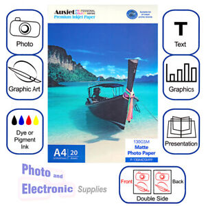 A4 Matte coated DS (Double Sided)  Inkjet Photo Paper 130gsm (20 Sheets) Matt