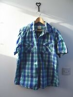 GEORGE mans checked pure cotton short sleeved casual blue shirt size L