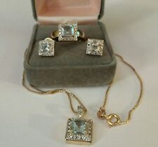 925 Sterling & Blue Crystal 4 Piece Jewelry Set.Gold Tone