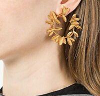 Fashion Women Personality Geometric Simple Alloy Circle Leaf Hoop Stud Earrings