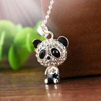 Personalized Jewelry Silver Fashion Rhinestone Cute Panda Pendant Chain Necklace