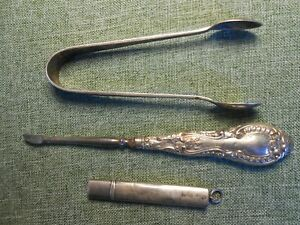Silver Sugar Tongs, Manicure Silver Handle, Pencil in Silver Case all Hallmarked