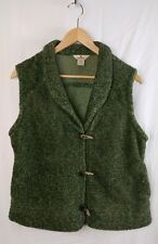 Woolrich Large Petite Vest Green Olive Heather Horn Button Fleece Pile Warm Nice