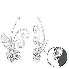Sterling Silver 925 Pretty Flower Pierced Ear Cuff Earrings