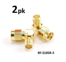 2-PACK Right Angle RP-SMA (Reverse Polarity) Female to SMA Male Gold Adapter