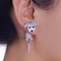 3D Animal Schnauzer Dog Polymer Clay Ear Stud Earrings Women Girl Gift
