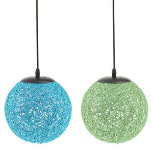 2x 20cm Rattan Woven Pendant Lampshade Hanging Ceiling Green & Blue Lamp