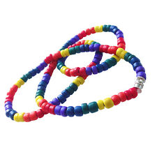 Gay Pride Surfers Necklace Coco Bead Choker in Rainbow 4 MM
