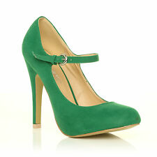 Womens Mary Jane Strap Court Shoe High Heel PUMPS Suede Patent Ladies Green Suede UK 5 EU 38