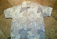 Cubavera Button Front Short Sleeve Floral Print Shirt 100% Viscose Rayon XL