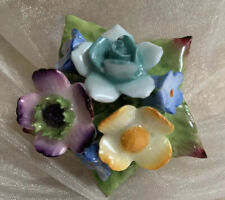 Vintage Bone China Ceramic Pastel Floral Posy Pin Brooch