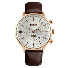 SKMEI Mens Watch Rose Gold Multi Dial Moonphase Dial Brown Leather Strap