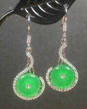 Green Jade Circle Imitation Diamond White Gold Plated Hook Dangle Earrings