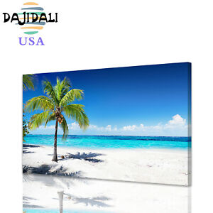 DJDL Wall Art Beach Ocean Coconut Trees Canvas Prints Painting Seascape Picture
