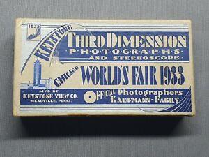 CHICAGO CENTURY OF PROGRESS 1933 EXHIBITION BOXED STEREOSCOPE & 3D PHOTOGRAPHS.