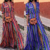2018 Womens Rainbow Striped Maxi Casual Loose Long Dress Beach Boho Shirt Dress