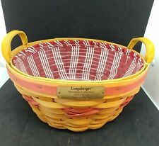 Longaberger 1999 Christmas Collection Popcorn Basket Combo with Red Stripe Liner