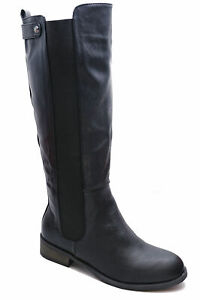 LADIES BLACK FLAT STRETCH ZIP-UP KNEE-HIGH TALL RIDING BOOTS COMFY SHOES 3-8