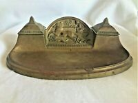 ANTIQUE INKWELL GERMAN BRONZE DOUBLE ROMAN CHARIOT REVIVAL INK WELL PEN TRAY