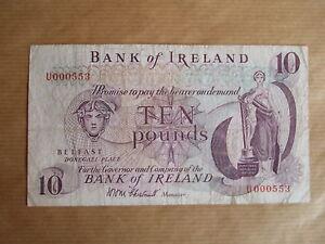 BANK  OF  IRELAND £10  NOTE, 1971. PREFIX  U,  LOW NUMBER