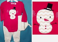 First Impressions Baby Girl Boy 3-pc SNOWMAN Christmas Outfit ONSIE 0-3 Months