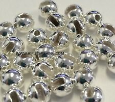 "TUNGSTEN SLOTTED FLY TYING BEADS SILVER 4.0 MM 5/32 "" 100 COUNT"