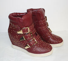 BURGUNDY STUDED SNEAKER WEDGE SHOES SIZE 5.5