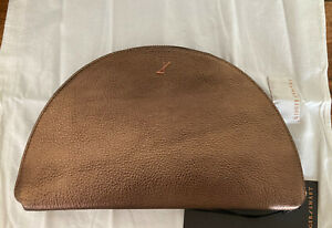 Ginger And Smart Half Moon Metallic Coffee Leather Clutch Bag.