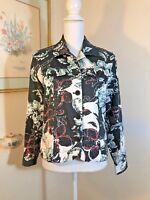 Coldwater Creek Womens Floral Jacket Shacket Button Blazer Size S Black White