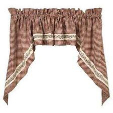 BERRY VINE SWAG BURGUNDY Cafe Curtain Homespun Primitive Country Check Valance