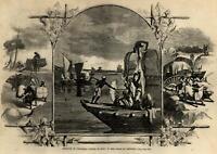 India conveying cotton water scene 1861 Harper's Civil War Print