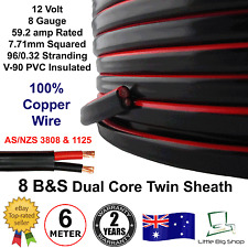New 6m 8B&S DUAL BATTERY CABLE 8 B S Twin 2 Core Auto Metre B&S 8BS BS Wire 12V