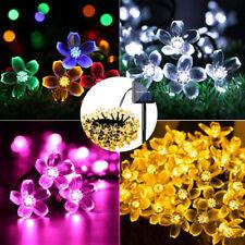 50 LED Solar Powered Flower Fairy Garden Lights String Outdoor Party Wedding UK