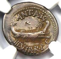 Roman Marc Antony AR Denarius Silver Coin 30 BC - Certified NGC Choice Fine