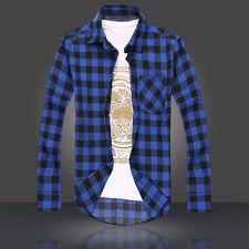 Men's Long Sleeve Casual Check Print Cotton Flannel Plaid Tops T-shirt 2018